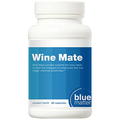 Wine Mate - Alcohol Flush (aka Asian Glow) + Sulfite Allergy Health Supplement + Tannin Reactions + Chemical Sensitivity - 60 Vitamin Capsules - Take Daily for Best Results