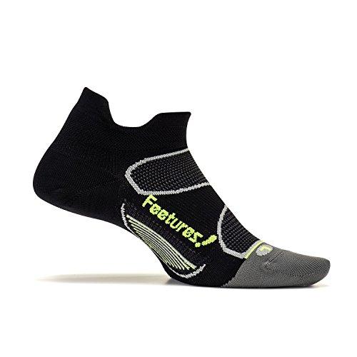 Feetures! Men's Elite Ultra Light No Show Tab, Black + Reflector, (Lightweight Nylon Sport Socks)