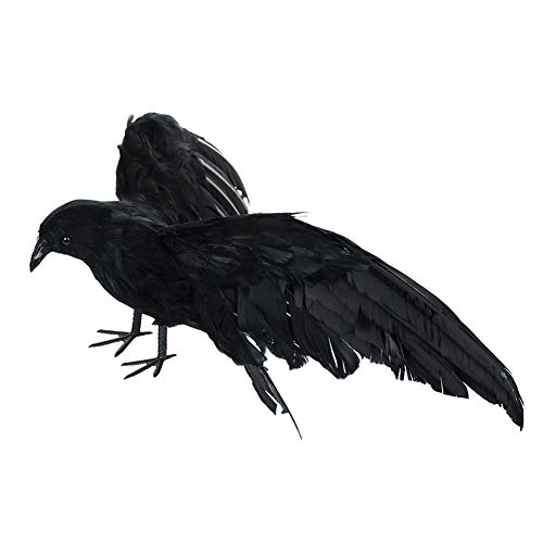 T-REASURE Halloween Black Feathered Small Crows Birds, Realistic Lifelike Handmade DIY Crafts Props for Home Indoor Halloween Party Decor