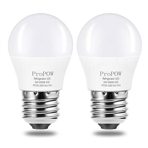LED Refrigerator Light Bulb, ProPOW 40W Equivalent 120V A15 Fridge Bulbs 5 Watt Daylight White 5000K E26 Medium Base, Energy Saving Freezer Ceiling Home Lighting, Not-Dim, Waterproof, 2 Pack (Refrigerator Bulb Led)