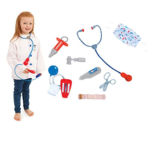 Barbie Dress Up Costumes For Adults (Kids Doctor Role Play Costume Dress Up Set with Lab Coat, Face Mask, Stethoscope, and 6 Additional Medical Tools)