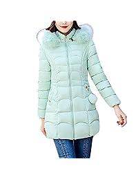 PENATE Women's Slim Down Jacket Winter Warm Solid Plush Hooded Cotton Coat Parka