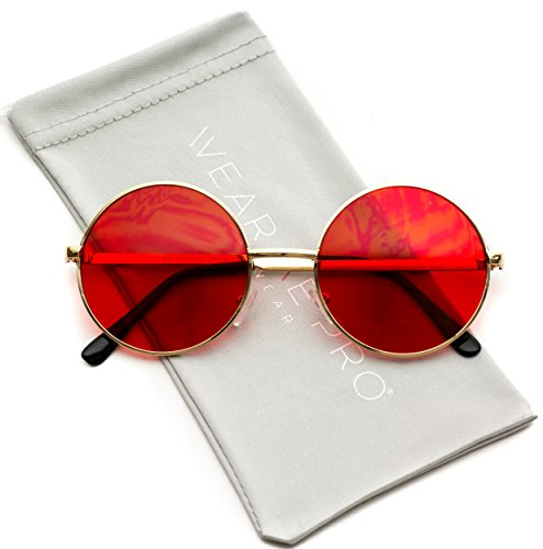 WearMe Pro - Colorful Tinted Retro Circle - Red Glasses Hipster