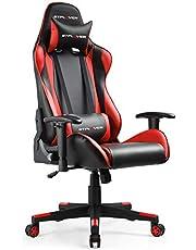 GTPLAYER Gaming Stoel Bureaustoel Gamer Ergonomische Stoel Verstelbare in Hoogte Verstelbare Gamerstoel met Ergonomisch Ontwerp (Zwart-Rood)