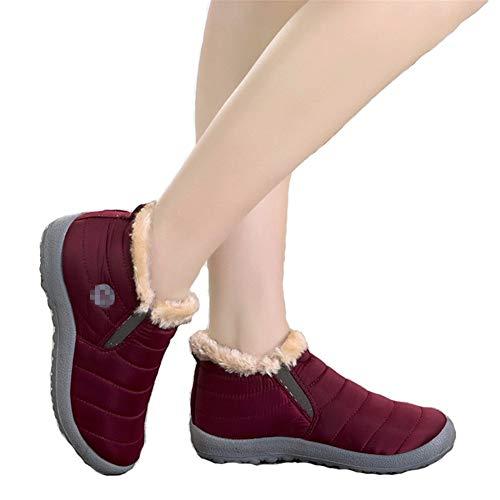 Warm Waterproof Ankle Sneaker Red Women Lined Fur On KUBAO Booties Snow Winter Slip Boots Slip Anti n8qwFRqP1
