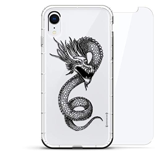 Package Air Dragon - Fantasy: Chinese Dragon | Luxendary Air Series 360 Bundle: Clear Silicone Case with 3D Printed Design and Air-Pocket Cushion Bumper + Tempered Glass for iPhone XR