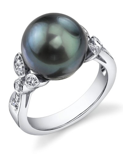 THE PEARL SOURCE 18K Gold 12-13mm Round Genuine Black Tahitian South Sea Cultured Pearl & Diamond Ariella Ring for Women