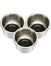 Amarine Made 3pcs Stainless Steel Cup Drink Holder with Drain For Marine Boat RV Camper