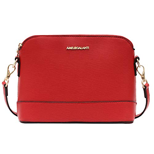 Crossbody Bags for Women, Lightweight Purses and Handbags PU Leather Satchel with Adjustable Strap and Golden Hardwares (Red R)