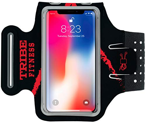 TRIBE Premium Running Armband & Phone Holder for iPhone 8, 7, 6, 6S Samsung Galaxy S7, S6-100% Lycra with Adjustable Elastic Band & Key/Card Slot for Running, Hiking, Gym - Armband Ipod Red
