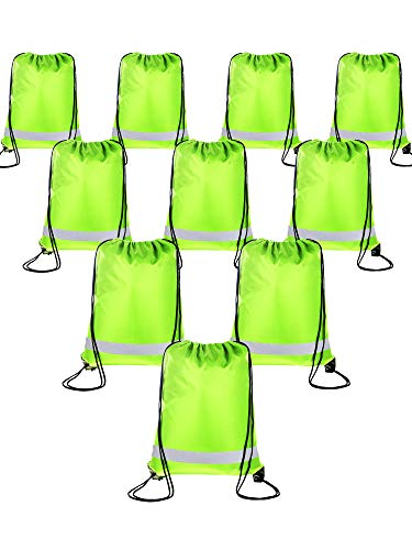 Shappy 10 Pieces Drawstring Bag Sack Pack Cinch Tote Kids Adults Storage Bag for Gym Traveling (Reflective Green) ()