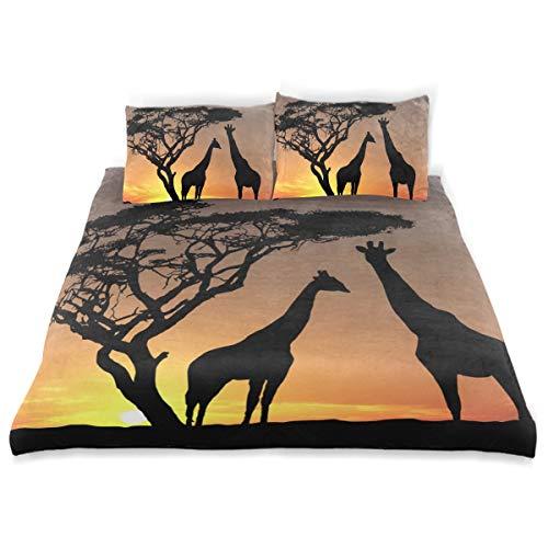 - OSBLI Bedding Duvet Cover Set 3 Pieces Giraffes Sunset Bed Sheets Sets and 2 Pillowcase for Teens