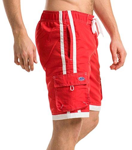 2201e738218f3 OCEAN PEARL Mens Striped Bathing Suit Swim Trunks