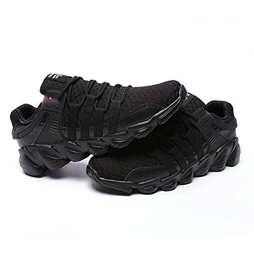 Gomnear Hardloopschoenen Heren Lichtgewicht Ademende, Veterschoenen Casual Fashion Sneakers Sportschoenen Zwart