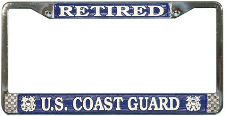 US Coast Guard Retired License Plate Frame (Chrome -