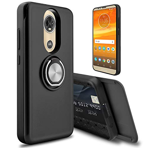 Moto E5 Plus Case, Moto E Plus (5th Gen) Case, lovpec [Cards Slot] 360 Degree Ring Magnetic Holder Kickstand Hybrid Girls Women Shockproof Phone Case Cover for Motorola Moto E5 Supra (Black)