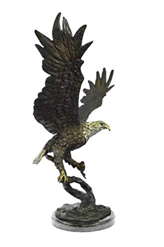 Stunning Eagle Genuine HOT CAST Bronze Statue ON Marble Sculpture