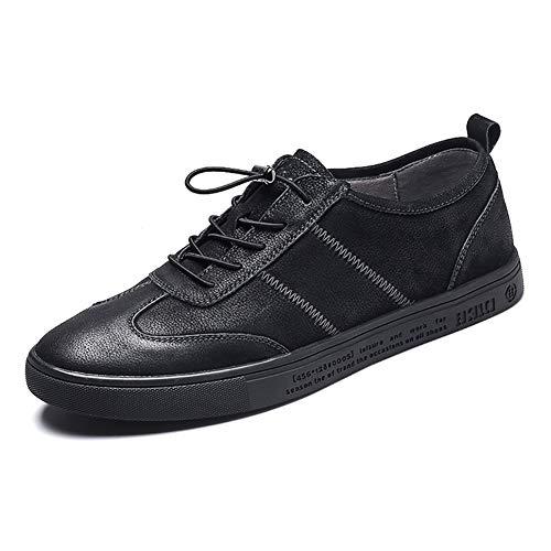 LXLA- Männer Casual Lace up Lederschuhe Herren Komfortable Runde Kopf Kleid Schuhe Für Männer (Farbe : Gray, größe : 7 US/6 UK) Schwarz