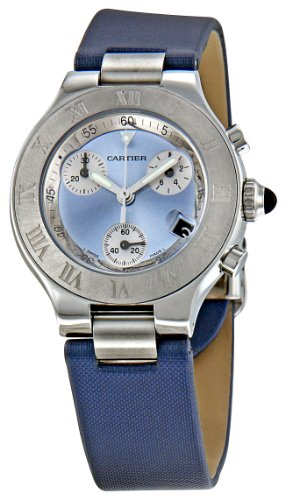 Cartier Women's W1020013 Chronoscaph Blue Sunburst Dial Watch