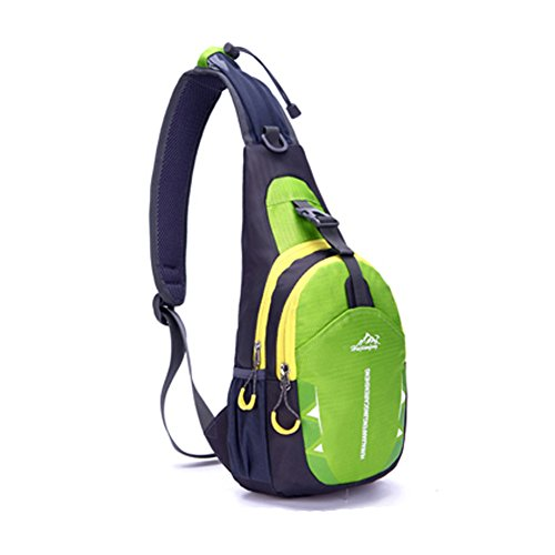 Portable Multi-functional Water Repellent Unisex Outdoor Sports Chest Pack Bum Bag Sling Bag Hiking Daypacks Adjustable Strap Shoulder Backpack Cross Body Bag Green