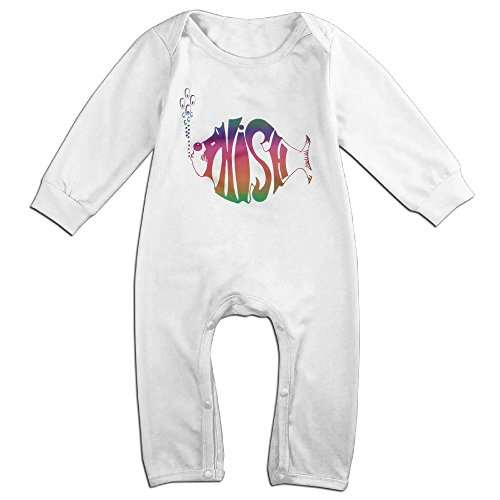 Price comparison product image PCY Newborn Babys Boy's & Girl's Phish Band Long Sleeve Jumpsuit Outfits For 6-24 Months White Size 18 Months