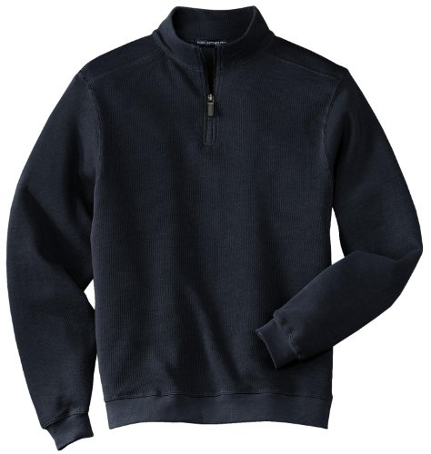 Port Authority Flatback Rib 1 4 Zip Pullover S Navy F220