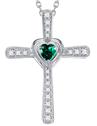 Emerald Religious Cross - Fine Gifts Fine Jewelry Necklace ❤️ Forever Love Heart ❤️ Sterling Silver LC Green Emerald Pendant Necklace Anniversary Gift for Her Mom Wife Girls