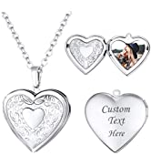 Women Girls Locket Necklace Platinum 18K Gold Photo Lockets that Hold Picture,Chain 20 Inch Perso...
