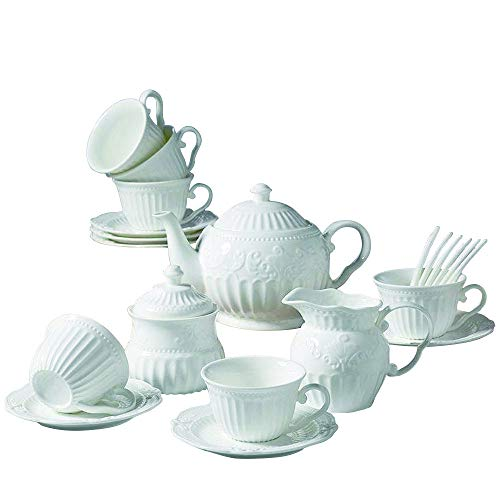 15 Pieces Simple European Ceramic Coffee Tea Sets,Bone China Afternoon Tea Set,Service Coffee Set with Spoons ()