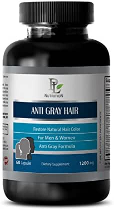 Hair Strength Vitamins - Anti Gray Hair 1200 MG - Restore Natural Hair Color - folic Acid and biotin Supplement - 1 Bottle 60 Capsules