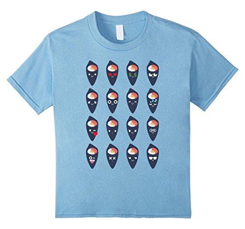 [Kids California Roll Sushi Emoji Face Emotion Shirt T-Shirt Tee 4 Baby Blue] (Baby Sushi Costumes)