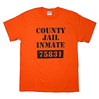 County Jail Prison Inmate Funny Novelty Orange 100% Cotton T Shirt Small