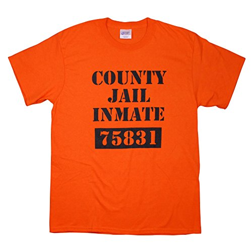 County Jail Prison Inmate Funny Novelty Orange 100% Cotton T Shirt -