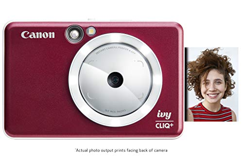 Canon IVY CLIQ+ Instant Camera Printer, Mobile Mini Photo Printer Via Bluetooth(R), Ruby Red