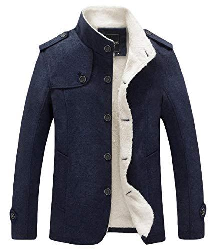 Collar Men's Button Coat Warm Dark Blue Sleeve Mogogo Outwear Velvet Woolen Long Stand WX0qnFAa