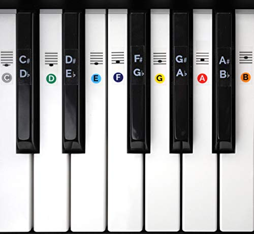 Color Piano Keyboard Stickers- Removable, Transparent, for White & Black Keys