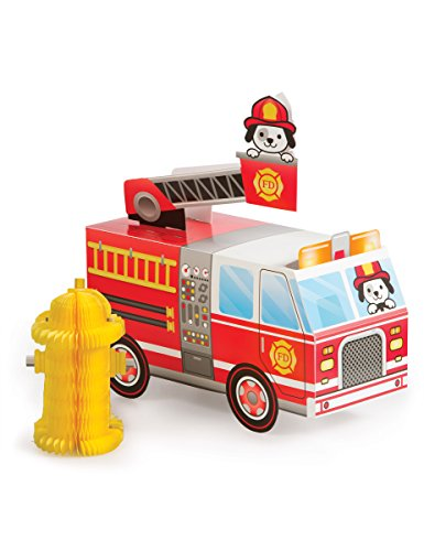 Fire Party Birthday Truck - Creative Converting 332201 CENTERPIECE 3D FIRETRUCK, One Size, Multicolor