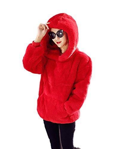 Idopy Sudaderas con capucha de piel sintética cálida de otoño invierno para mujer Rojo