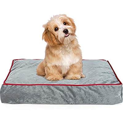 Orthopedic Memory Foam Pet Bed Mattress for Dogs and Cats with Removable Machine Washable Cover, Anti-Microbial Waterproof Non-Slip Cover, for Home, Car, Outdoors, Grey Color 24Lx 18W X4H In.