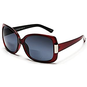Women's BiFocal Sun Readers Fashion Sunglasses - Jackie O French Riviera SunReaders Style in Red +2.25