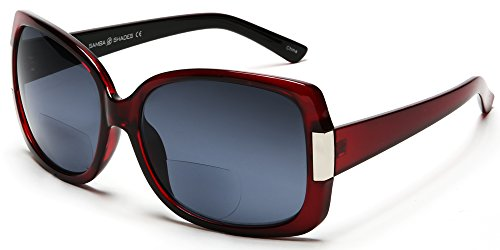 Women's BiFocal Sun Readers Fashion Sunglasses - Jackie O French Riviera SunReaders Style in Red - Discount Luxury Sunglasses