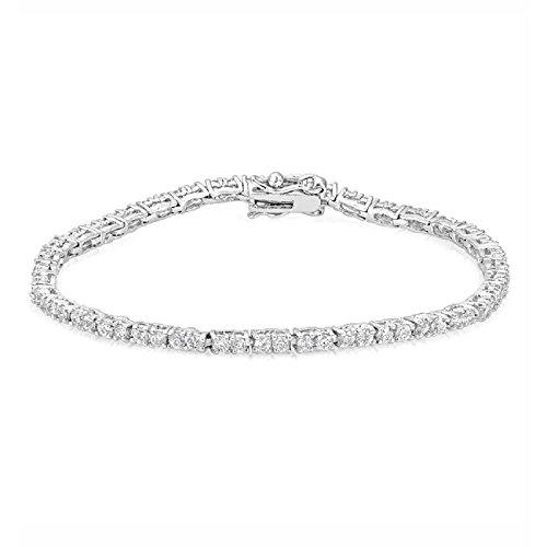 Jgoodin B01474R-C01 Petite Silvertone Cubic Zirconia Tennis Bracelet (Men Handband Stainless Steel compare prices)
