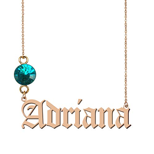 GR859C Personalized Birthstone Pendant Old English Name Adriana ()