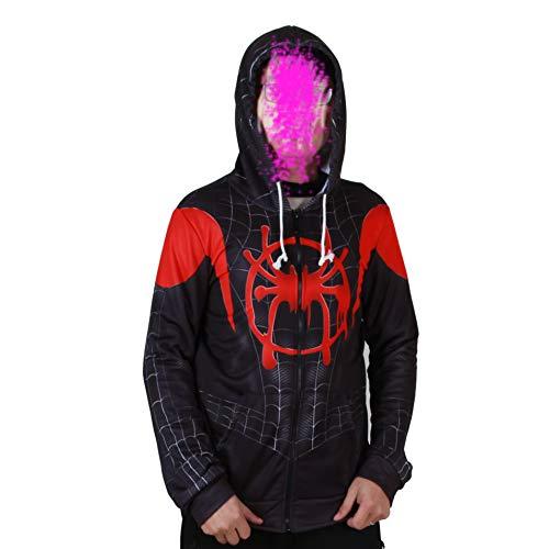 Superhero Halloween New into The Spider Verse Miles Morales Cosplay Costume Men Hoodie (Adult-L Black -