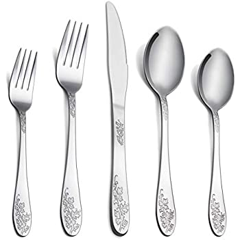 Silverware Set Service for 4, E-far 20-Piece Flatware Set Stainless Steel Cutlery Set, Flowers Pattern & Mirror Finished, Rust Free & Dishwasher Safe