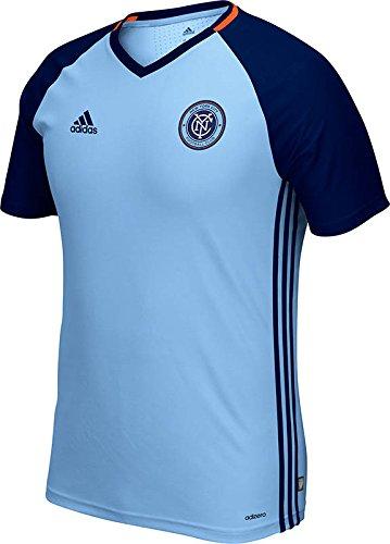 adidas MLS N.Y.C. Football Club Men's Short Sleeve Training Top, Large, Light Blue/Navy