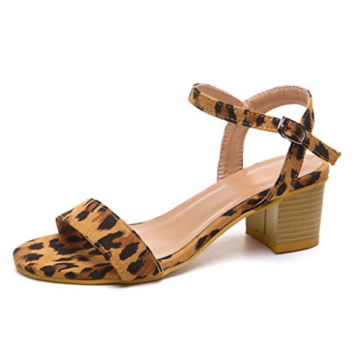 (Respctful✿ Women's Fashion Leopard Mid-Heel Sandal with Ankle Strap Heeled Chunky Buckle Sandals Shoes Brown)