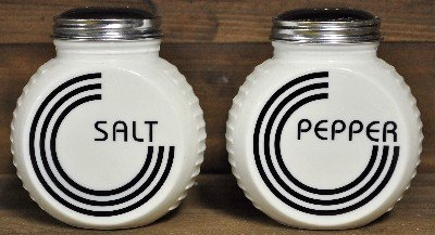 (Salt and Pepper Shakers Pair Black and White Reproduction Depression Glass #501W)