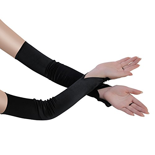"""BABEYOND Long Opera Party 20s Satin Gloves Stretchy Adult Size Elbow Length 20.5"""" (Smooth 17.7in-Black)"""