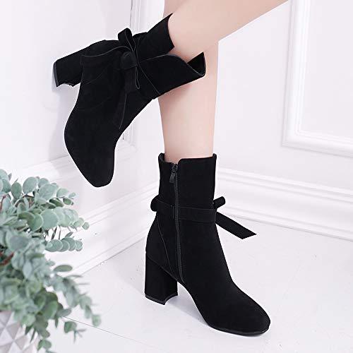 Casual Zapatos Proa con Tacon De Plataforma Corta Calzado Cremallera Rebajas Negro Doradas Botin Mujer Bota Alto ALIKEEY zSqO8nFx